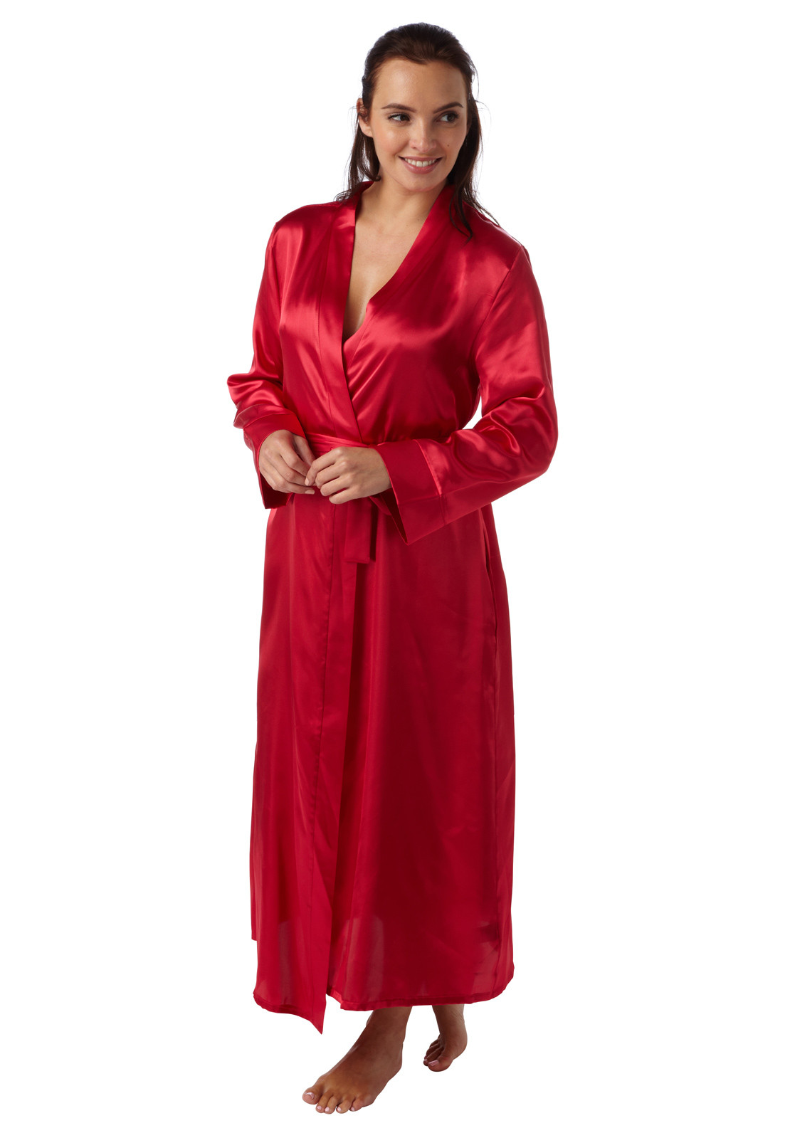 Indigo Sky Lace Trim Satin Dressing Gown, Red