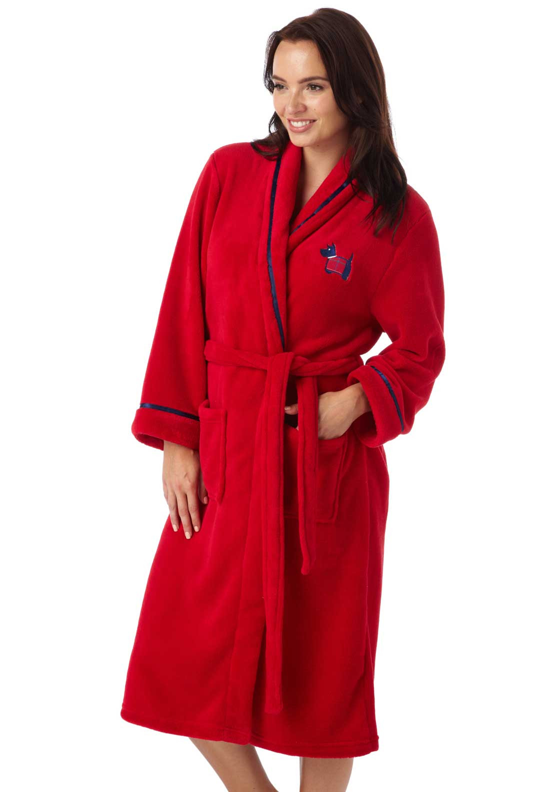Indigo Sky Wrap Over Fleece Dressing Gown, Red