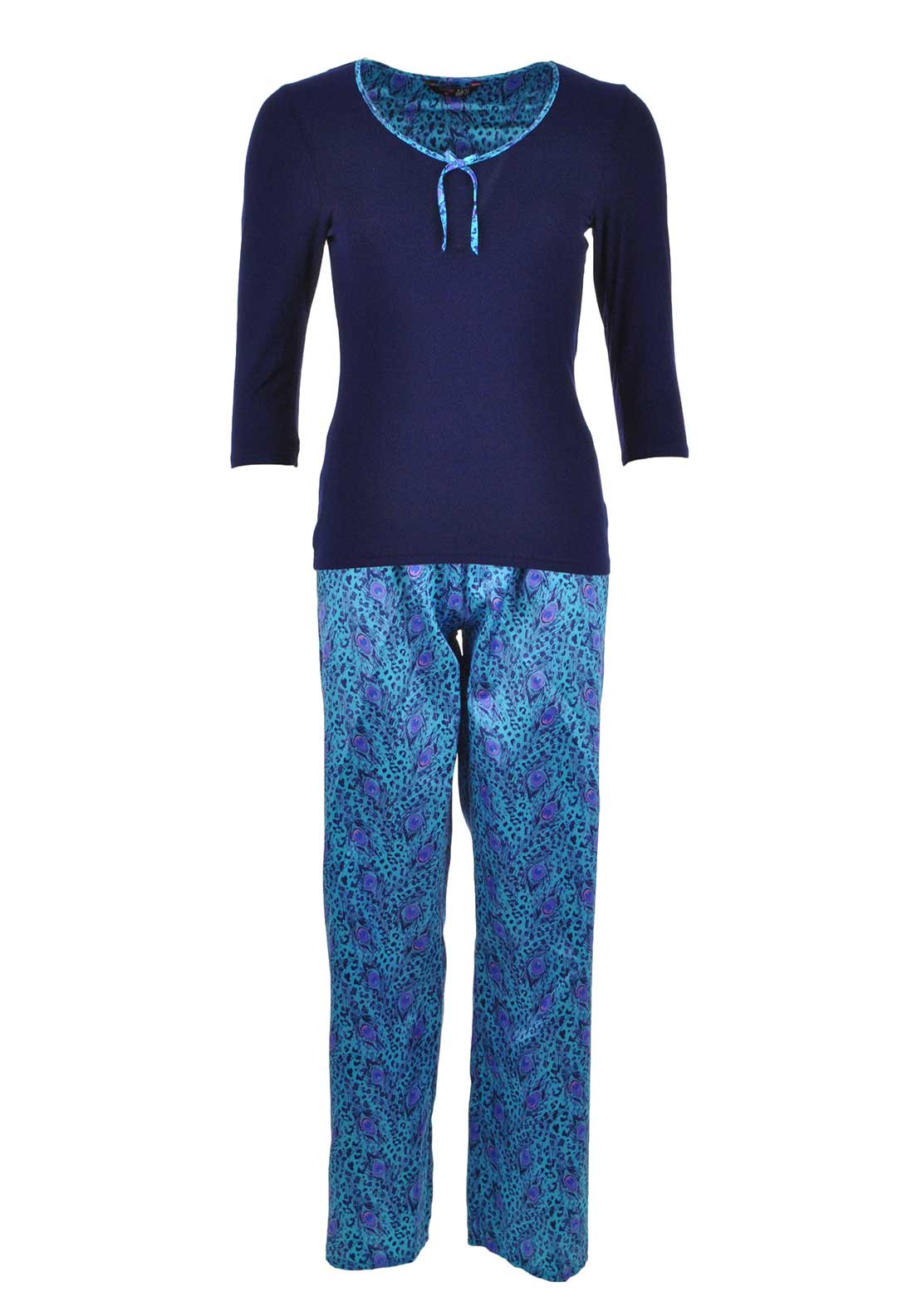 Indigo Sky Peacock Print Pyjama Set, Navy and Blue