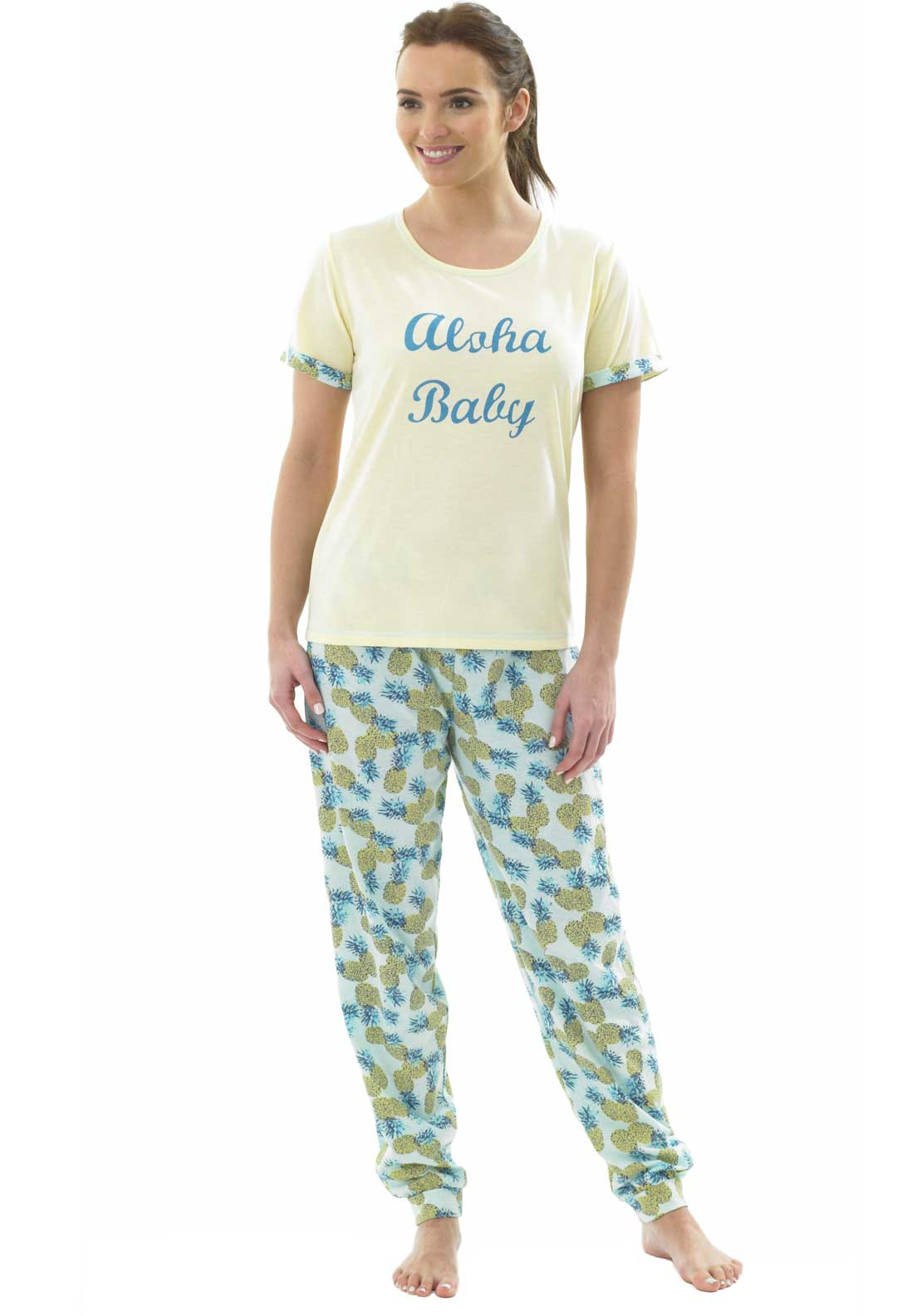 Indigo Sky Pineapple Print Pyjama Set, Yellow Multi