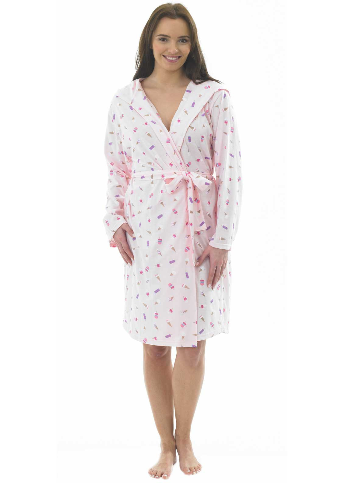 Indigo Sky Ice Cream Print Dressing Gown, Pink