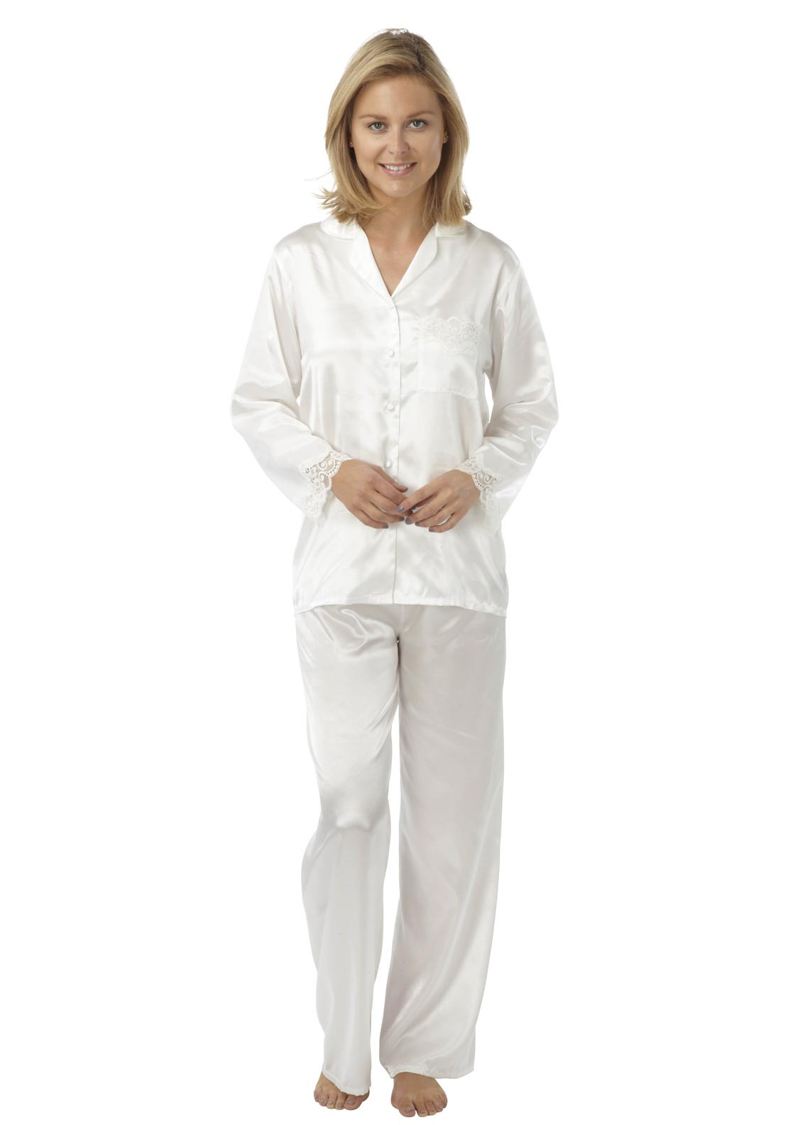 Indigo Sky Satin with Lace Trim Pyjamas, Ivory