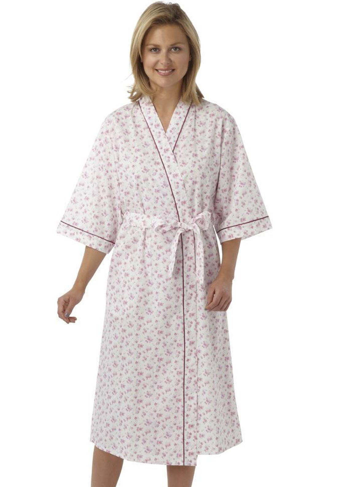 Marlon Floral Print Wrap Dressing Gown, Lilac