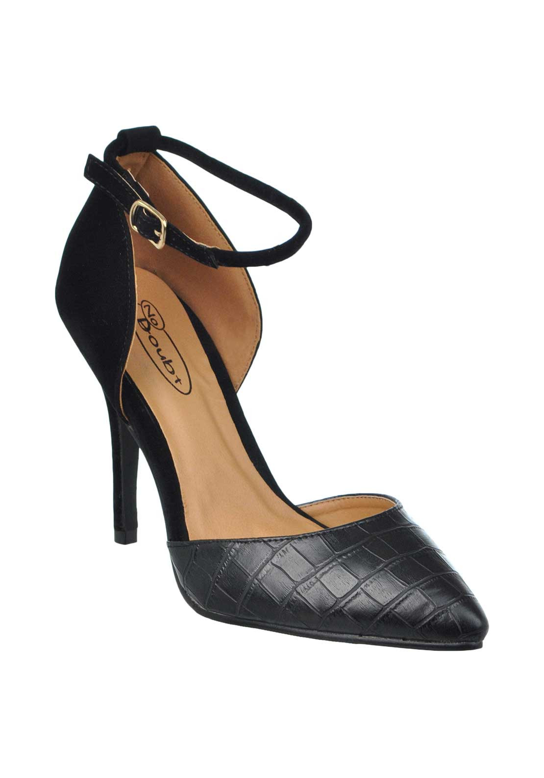 No Doubt Reptile Print Pointed Toe Heeled Ankle Strap Shoes, Black