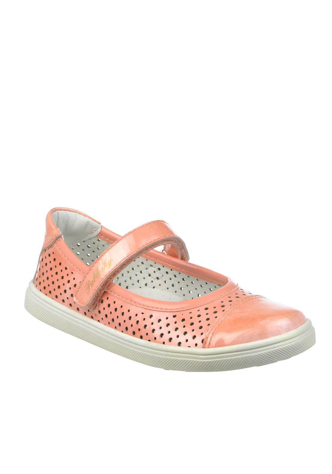 Pablosky Girls Patent Leather Perforated Velcro Strap Pumps, Coral