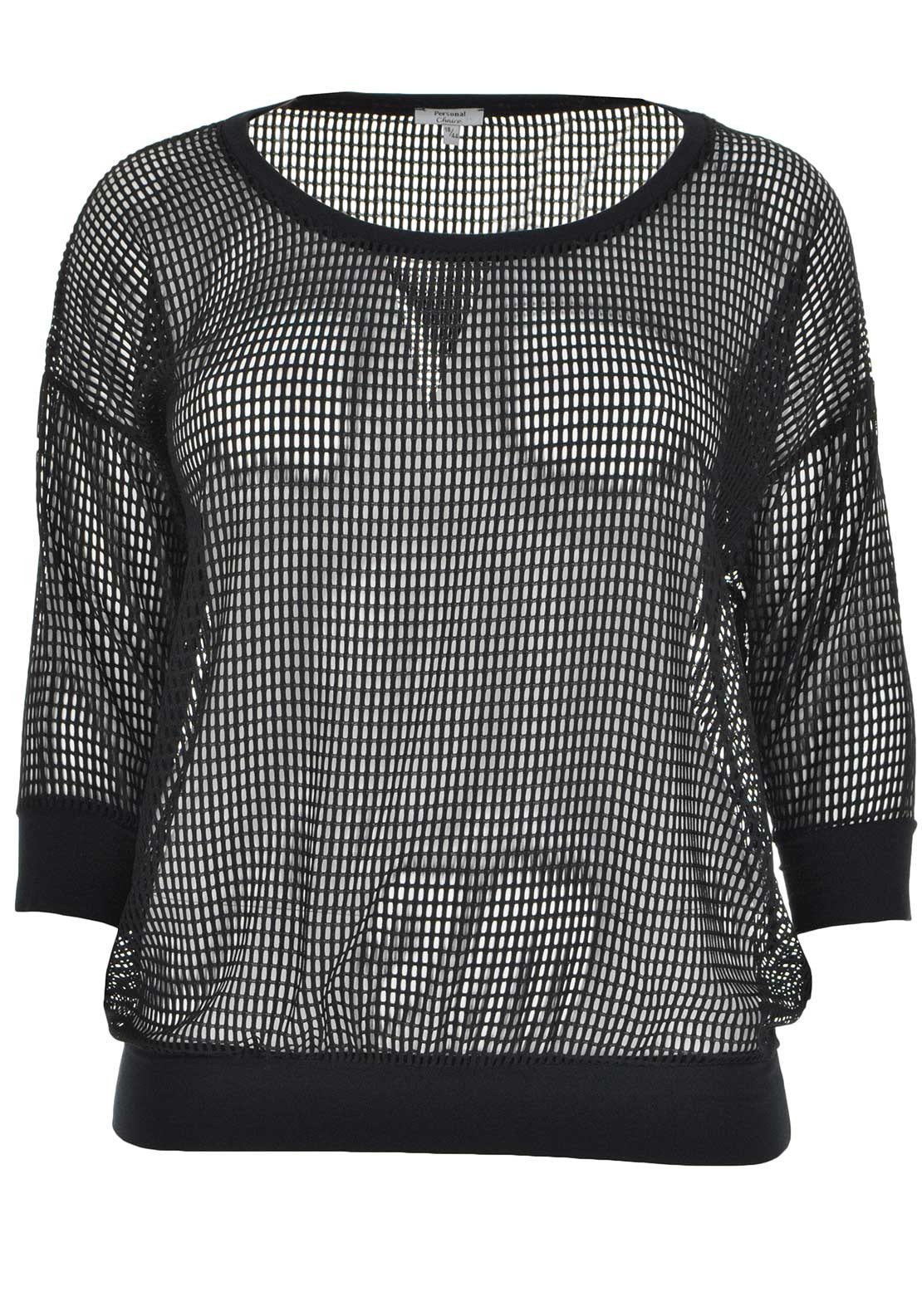 Personal Choice Sheer Cropped Sleeve Net Top, Black