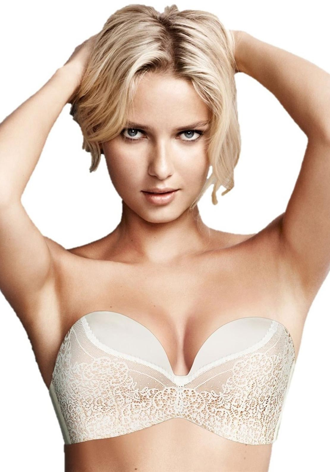 Wonderbra Ultimate Strapless Lace Bra, Ivory and Skin