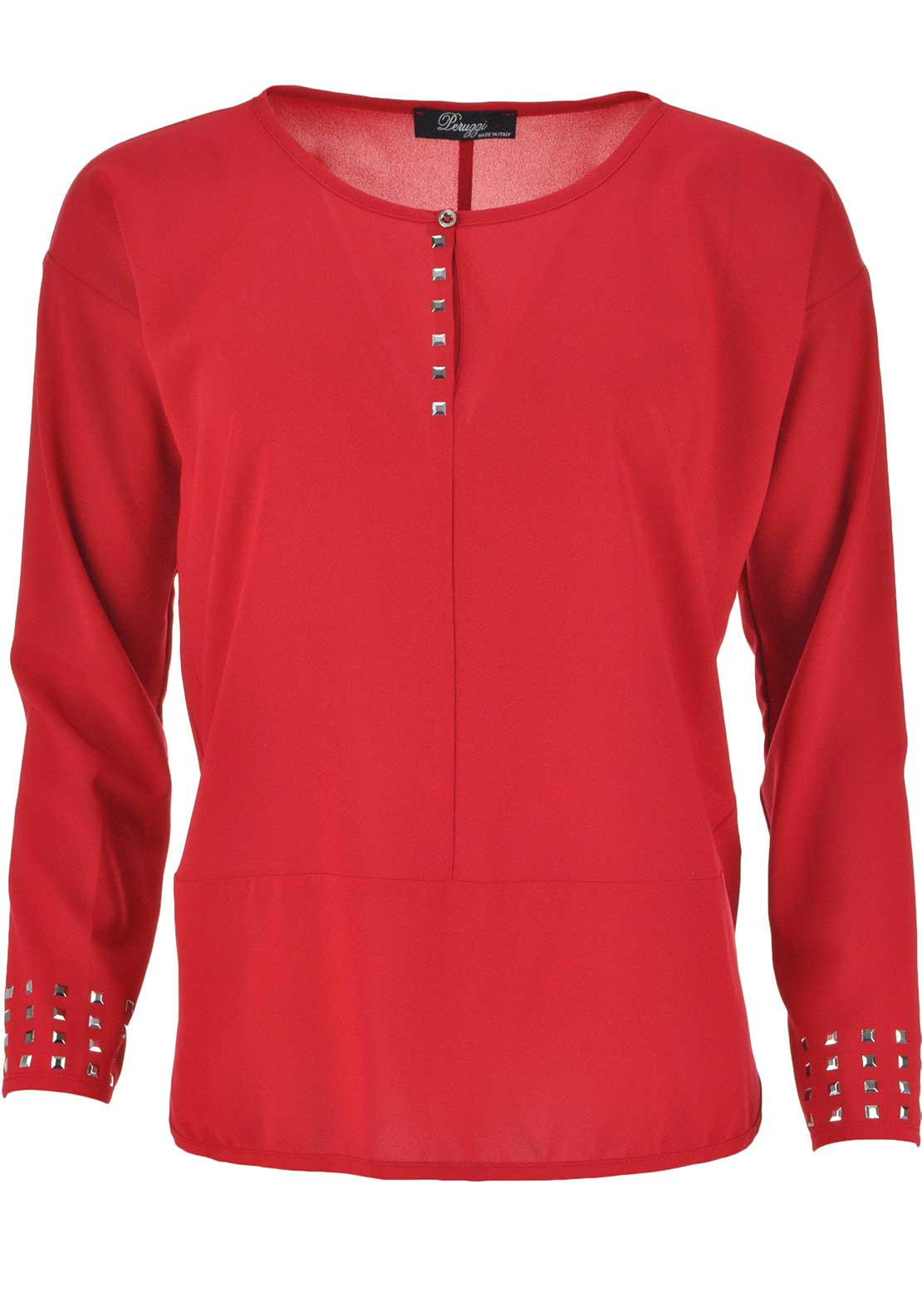 Peruzzi Rhinestone Embellished Long Sleeve Top, Red