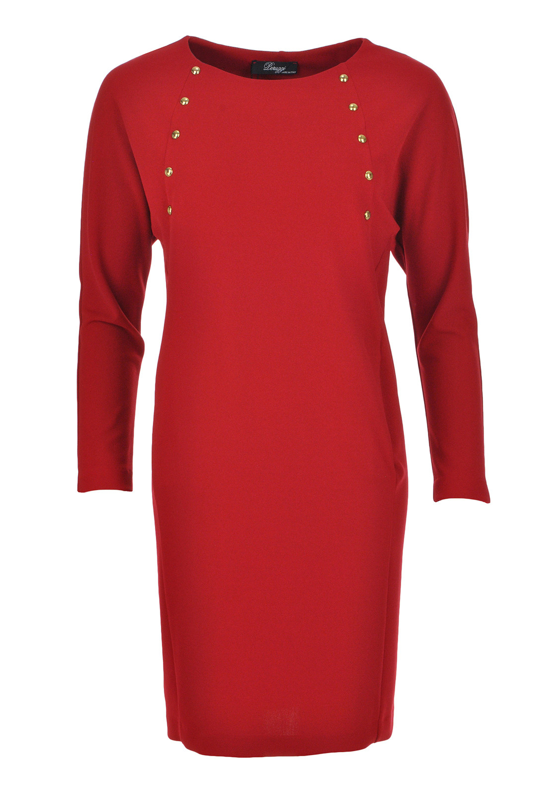 Peruzzi Studded Long Sleeve Tunic Dress, Red