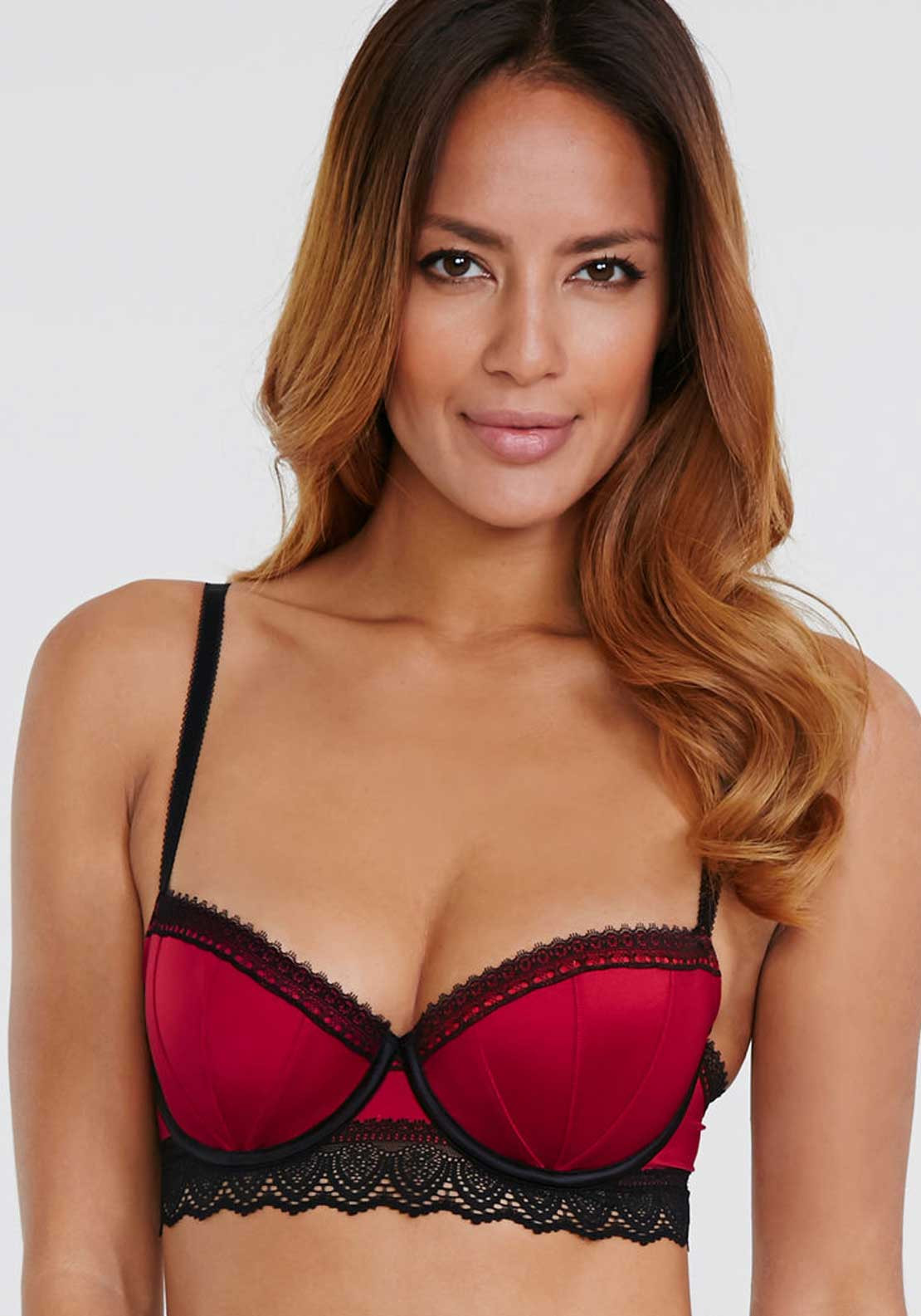 Wonderbra Glam Brazilian Balcony Bra, Jester Red