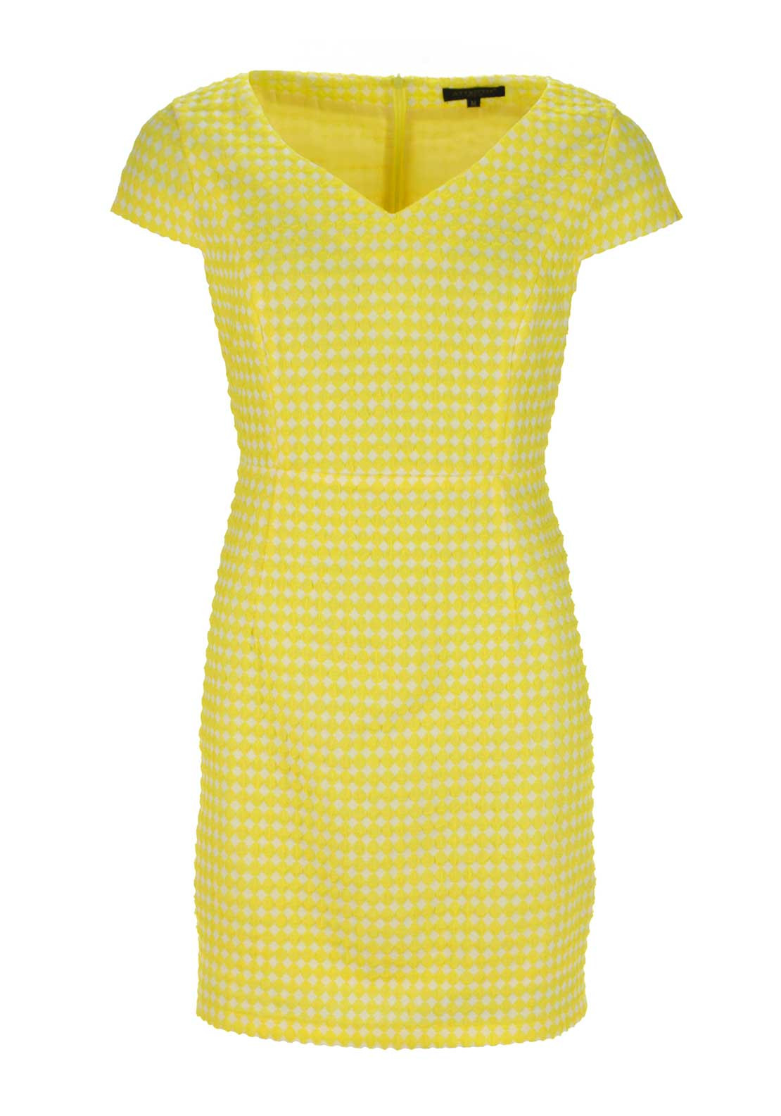 Boutique Graphic Print V Neck Shift Dress, Yellow and White