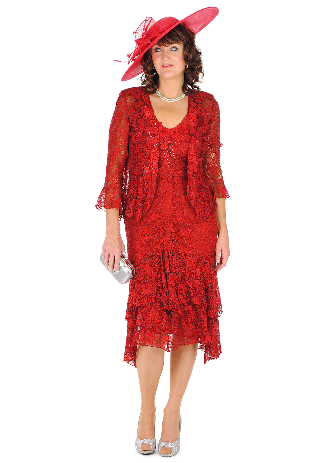Ann Balon Ramona Lace Dress and Jacket, Red