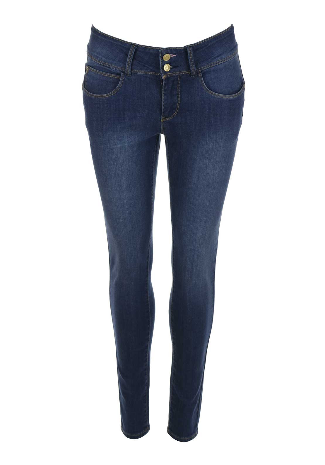Rant & Rave Vivian Vintage Wash High Waist Skinny Jeans, Blue Denim