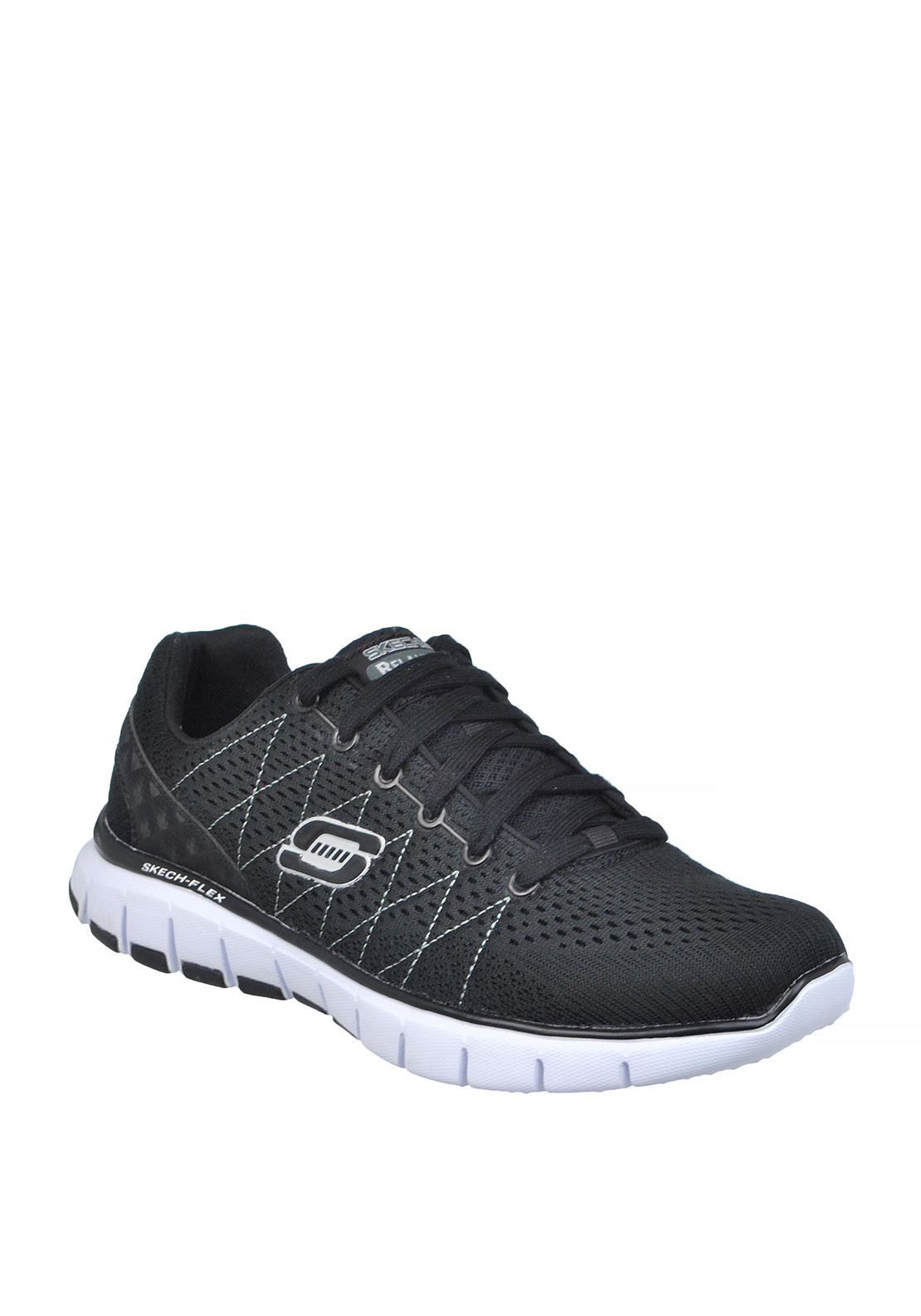 Skechers Mens Relaxed Fit Skech Flex Lace Up Trainer, Black