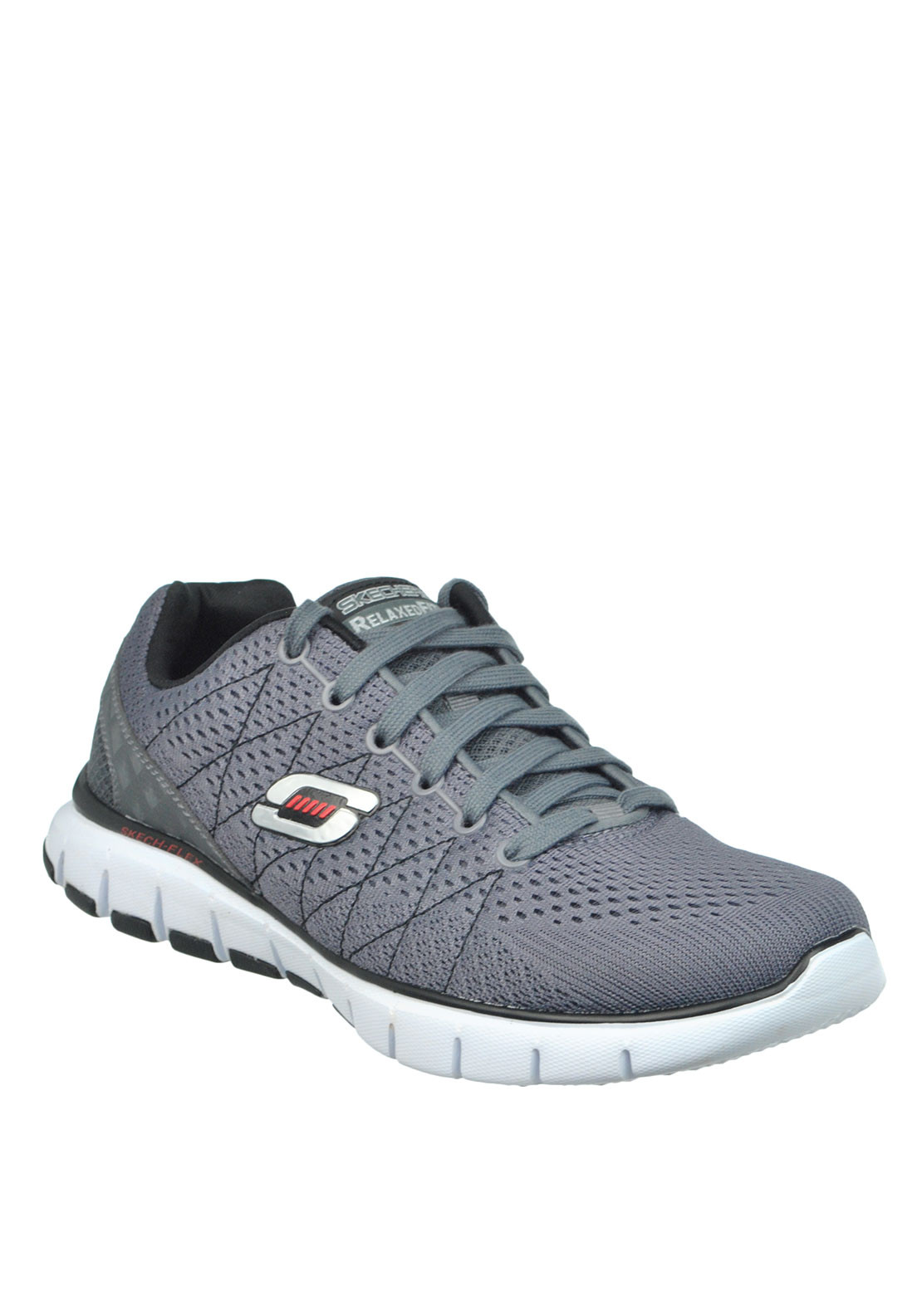Skechers Mens Relaxed Fit Skech Flex Lace Up Trainer, Charcoal