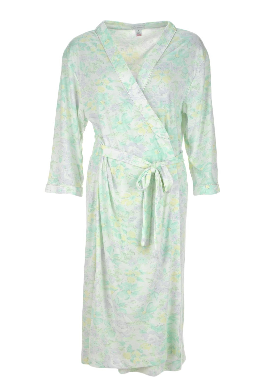 Slenderella Floral Print Dressing Gown, Mint Green Multi