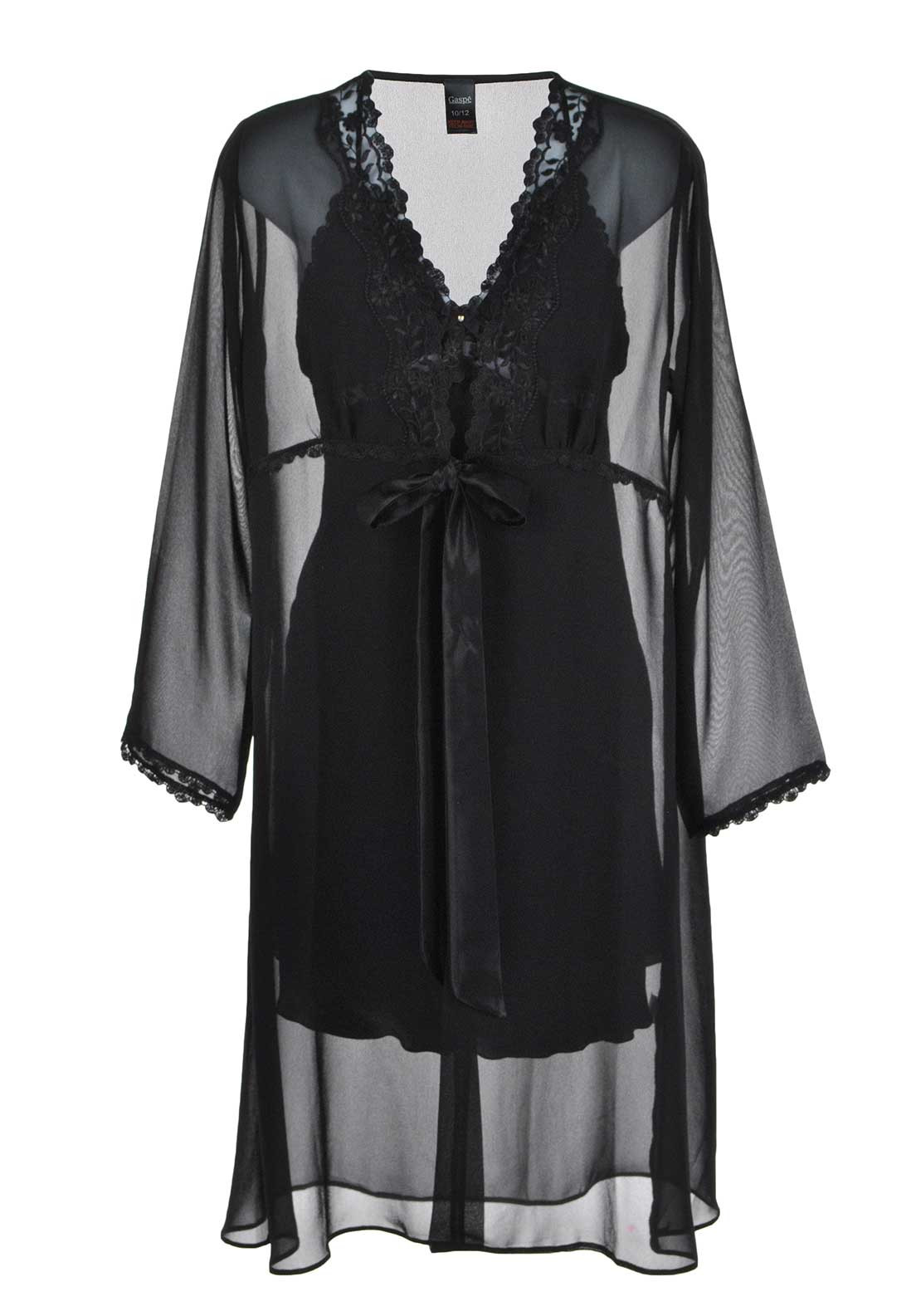 Gaspe Satin Chemise Nightdress with Chiffon Robe, Black