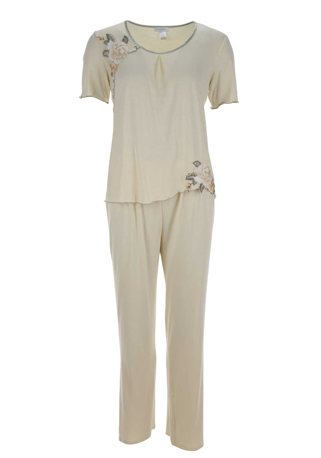 Slenderella Embroidered Trim Pyjama Set, Peach