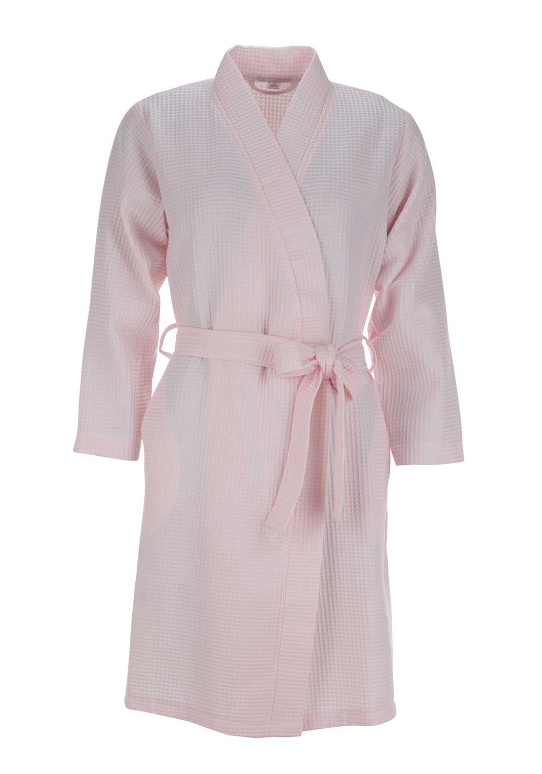 Slenderella Cotton Rich Waffle Dressing Gown, Pink