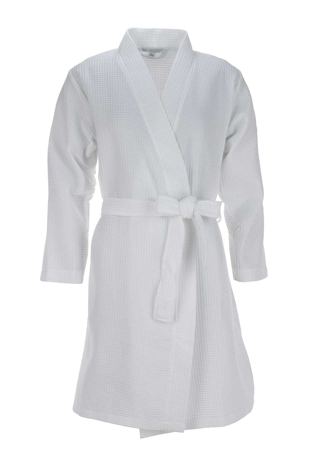 Slenderella Cotton Rich Waffle Dressing Gown, White