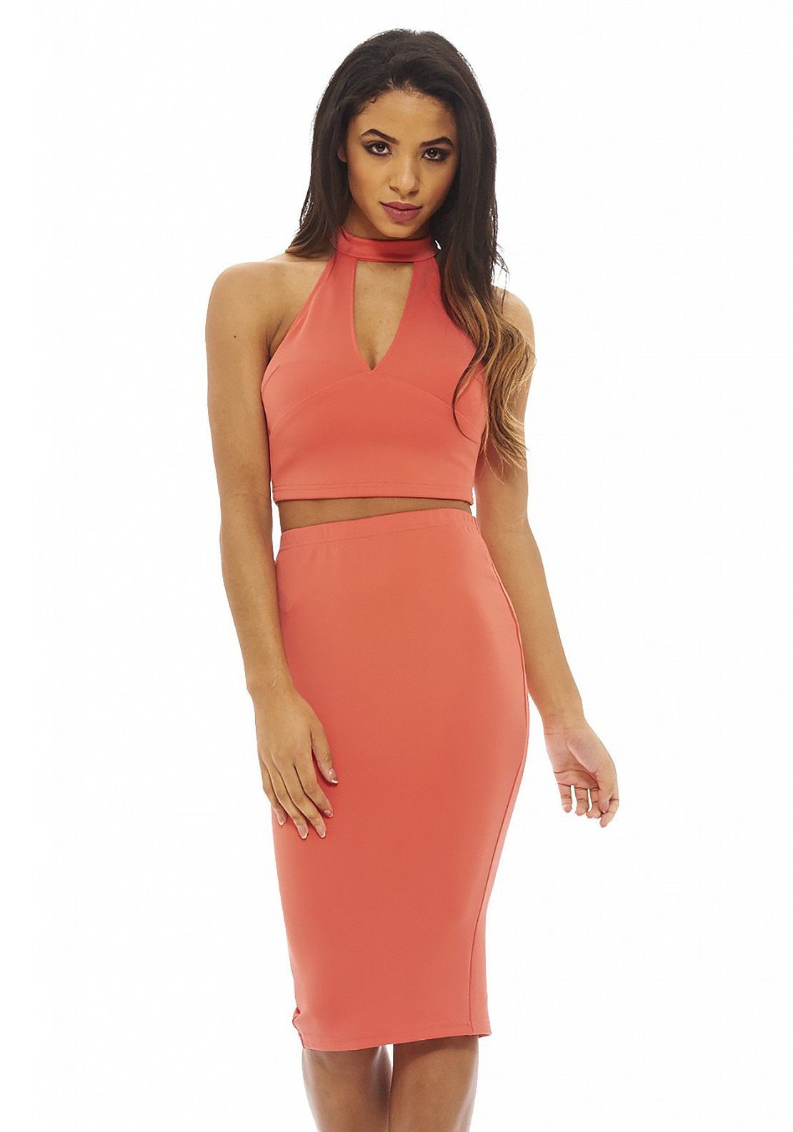 AX Paris Crop Top and Pencil Skirt Co-Ord, Coral
