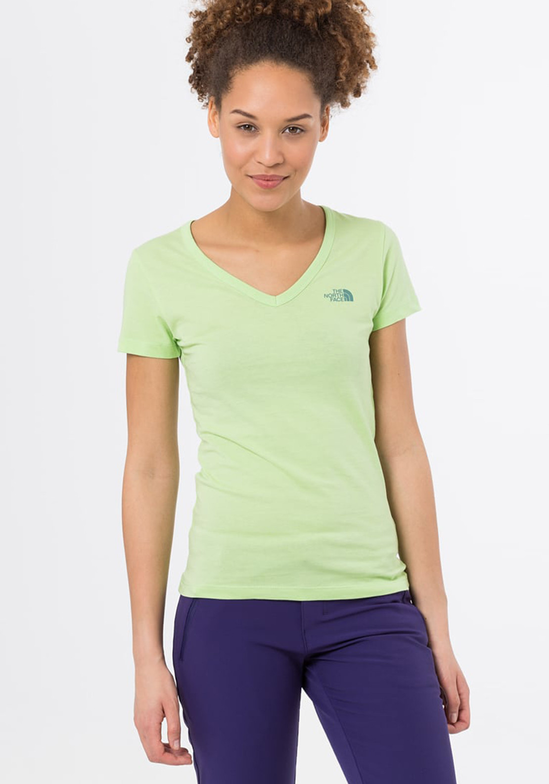 The North Face Womens Simple Dome V Neck T-Shirt, Budding Green