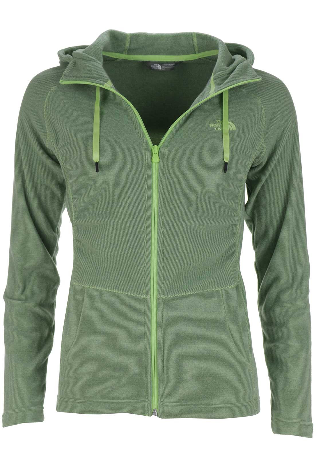The North Face Womens Mezzaluna Hooded Zip Fleece, Green Stripe
