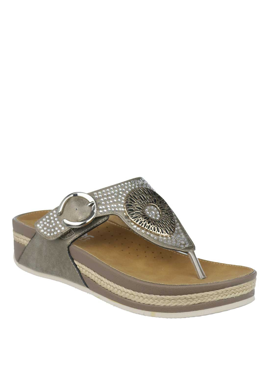 Rieker Womens Embellished Toe Thong Slip on Sandals, Pewter