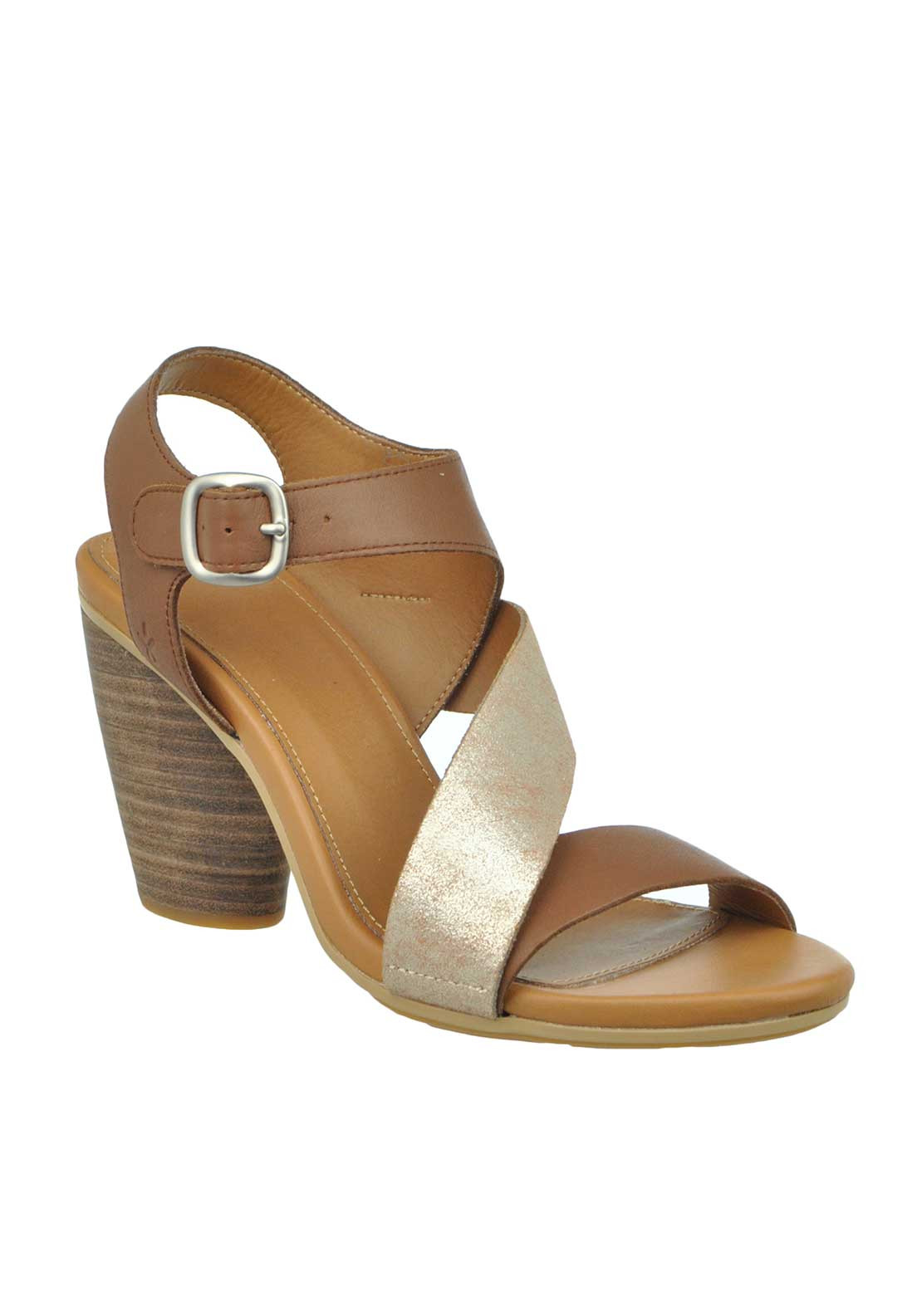 EMU Australia Dawn Leather Shimmer Strap Heeled Sandals, Brown