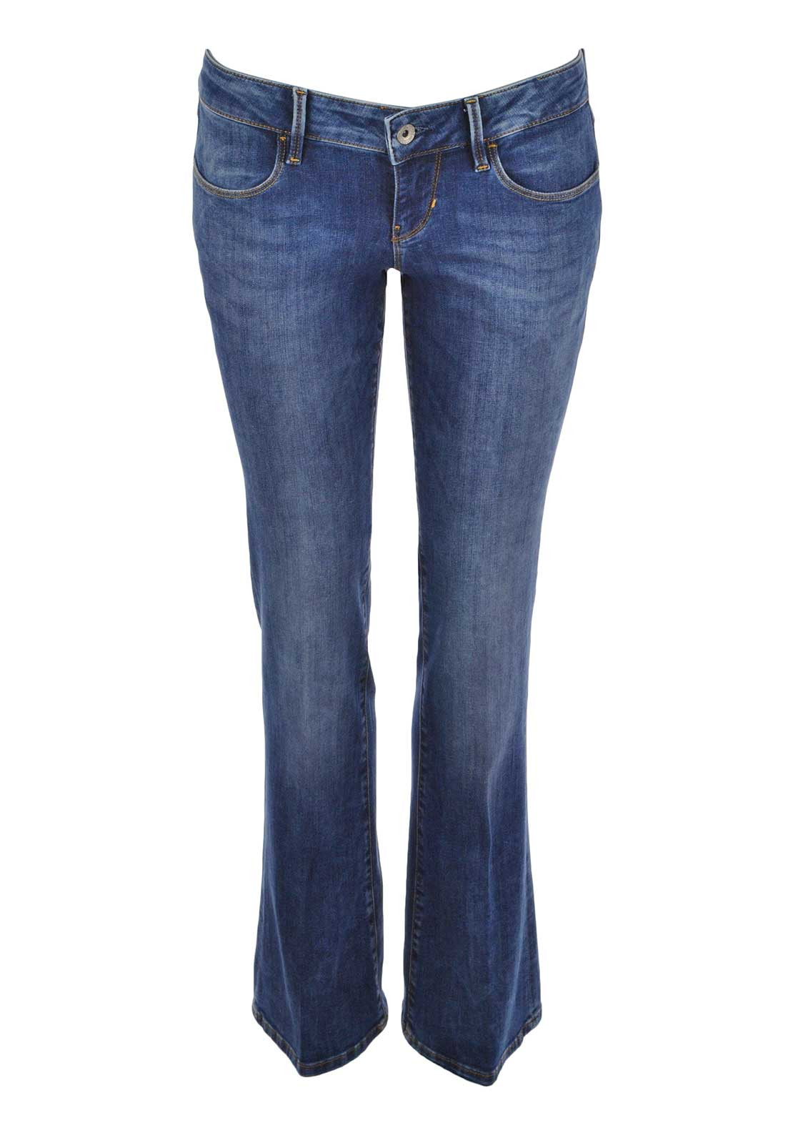 Guess Womens Worn Look Flared Jeans, Blue Denim