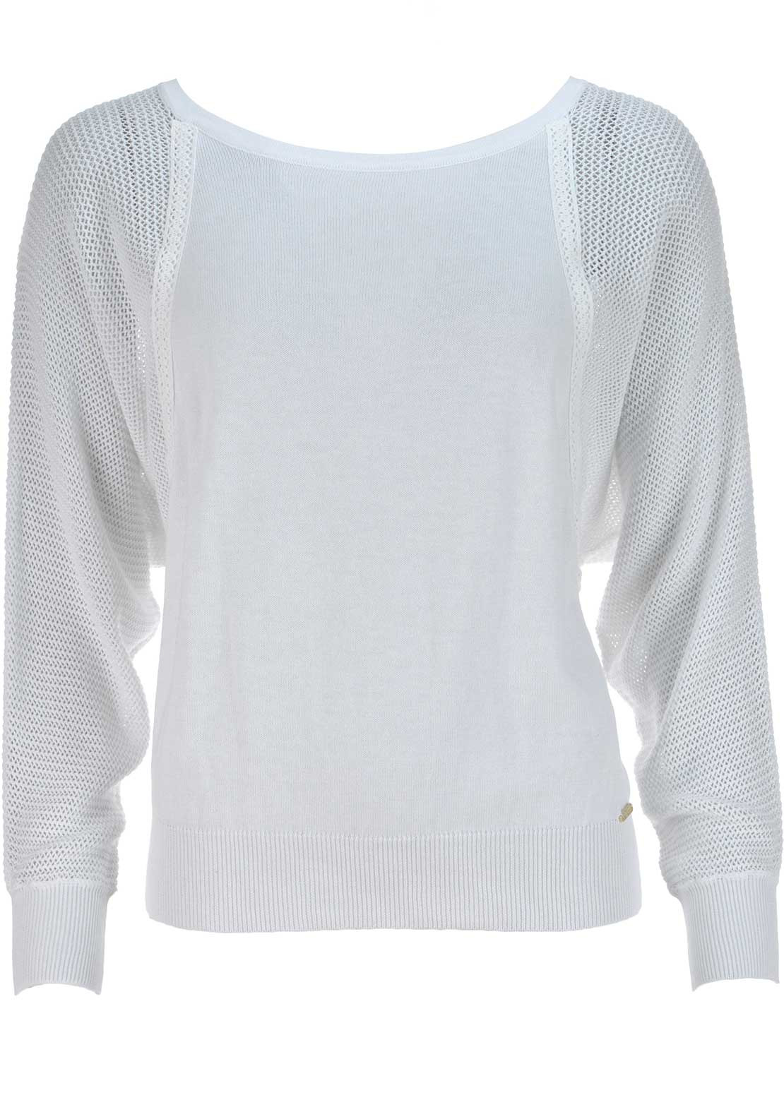 Guess Womens Textured Knitted Jumper, White