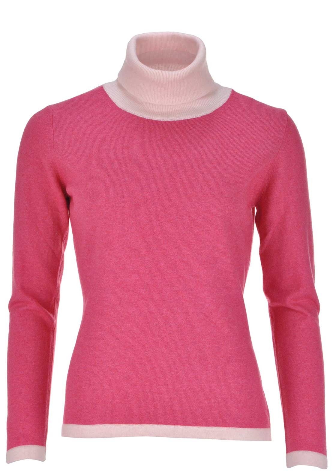 Boutique Cashmere and Silk Blend Fine Knit Ribbed Polo Neck Sweater Jumper, Pink