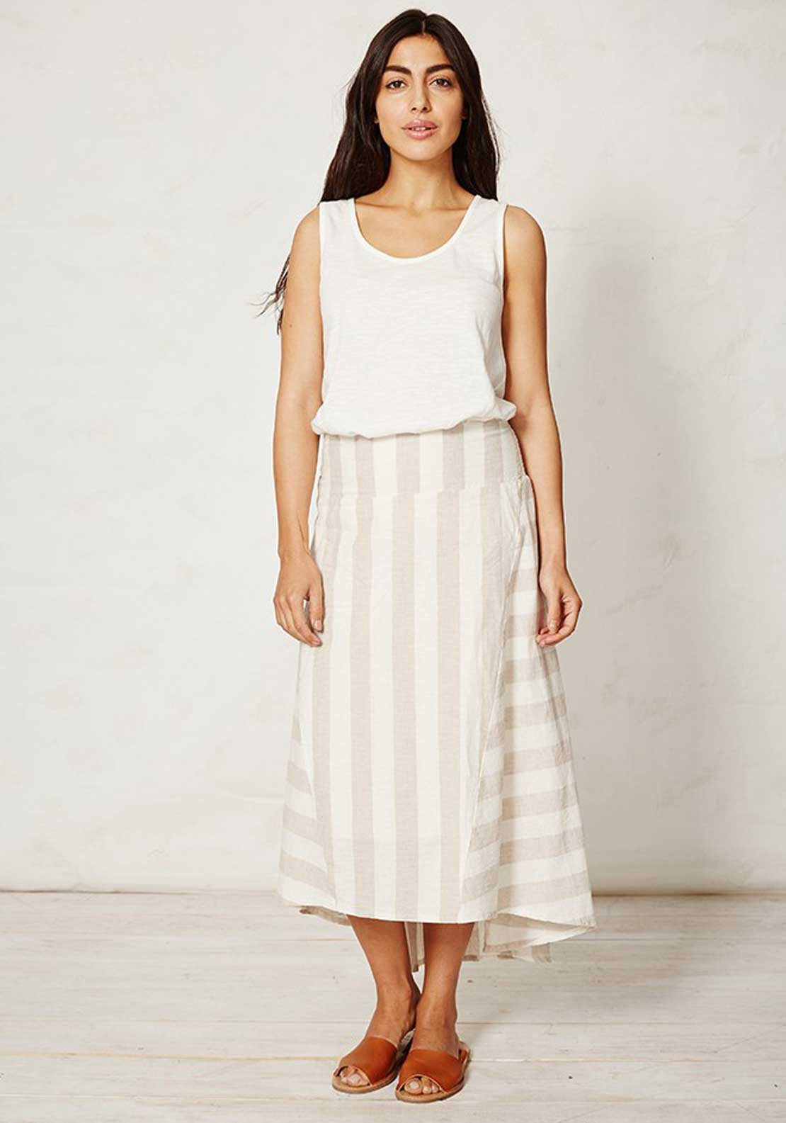 Braintree Latifa Striped Dip Hem A-Line Midi Skirt, Cream