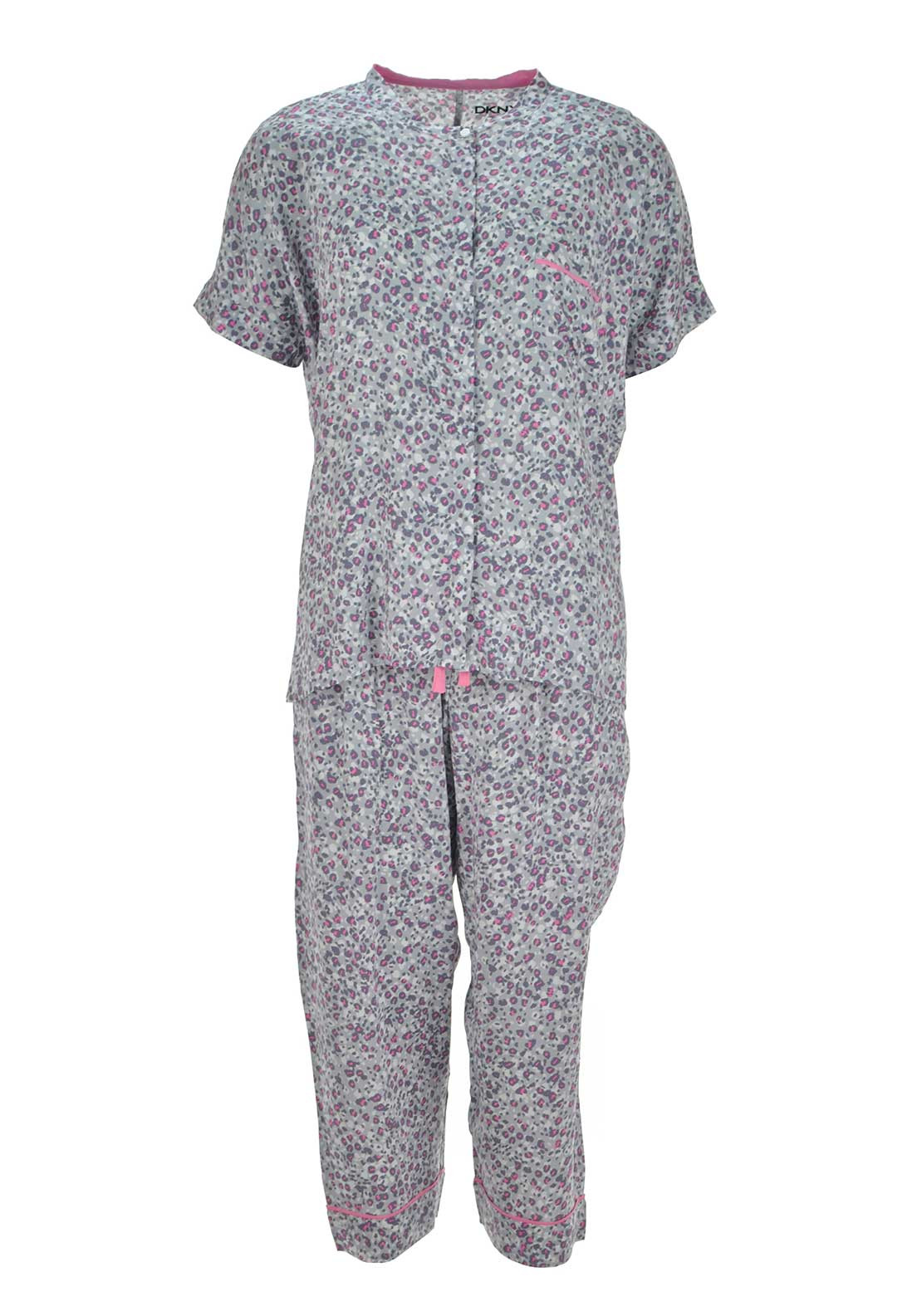 DKNY Womens Animal Print Pyjama Set, Grey Multi