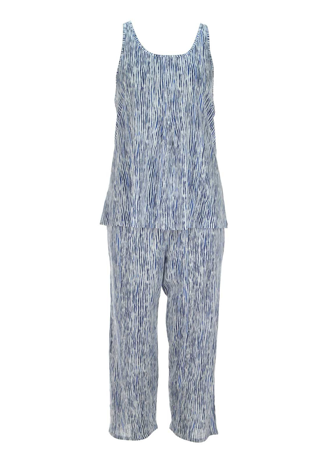 DKNY Womens Striped Pyjama Set, Navy and White