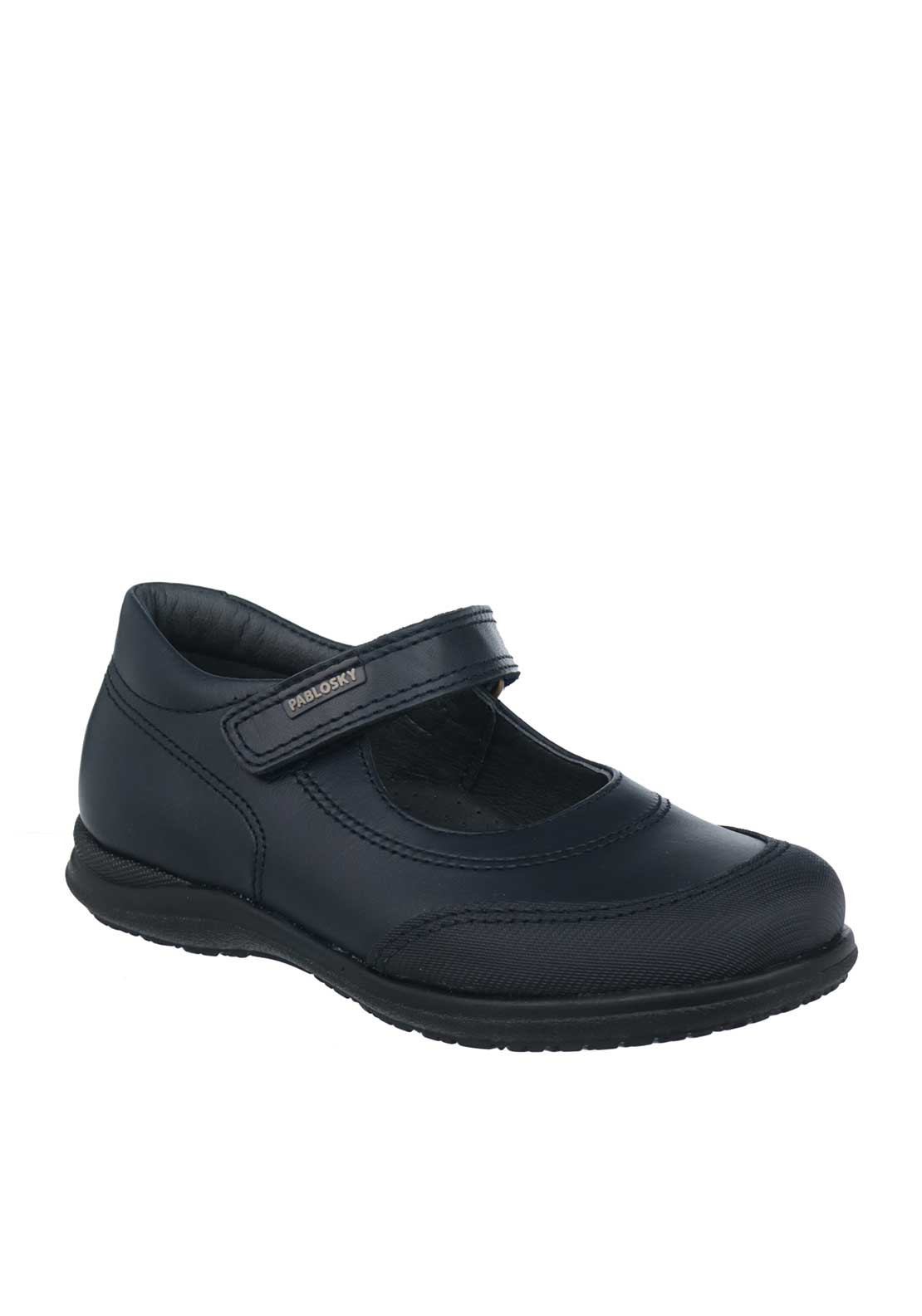 Pablosky Girls Velcro Strap Mary Jane School Shoes, Navy