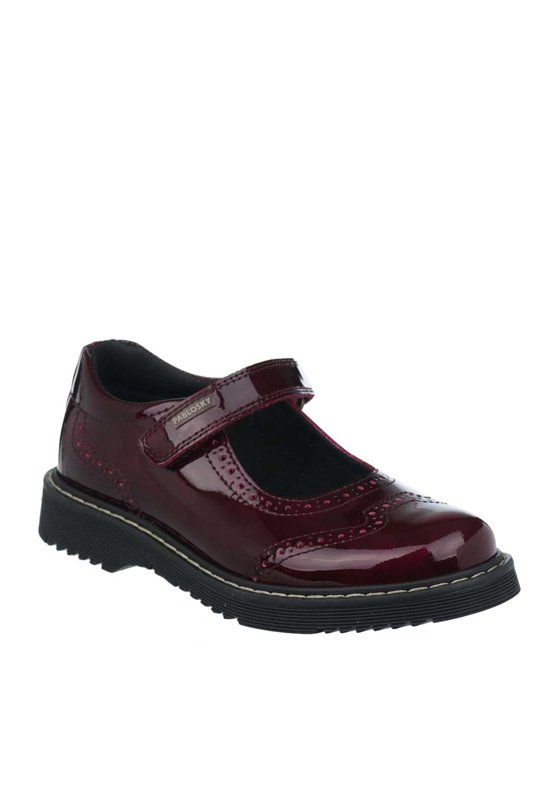 Pablosky Girls Patent Leather Mary Jane School Shoes, Wine