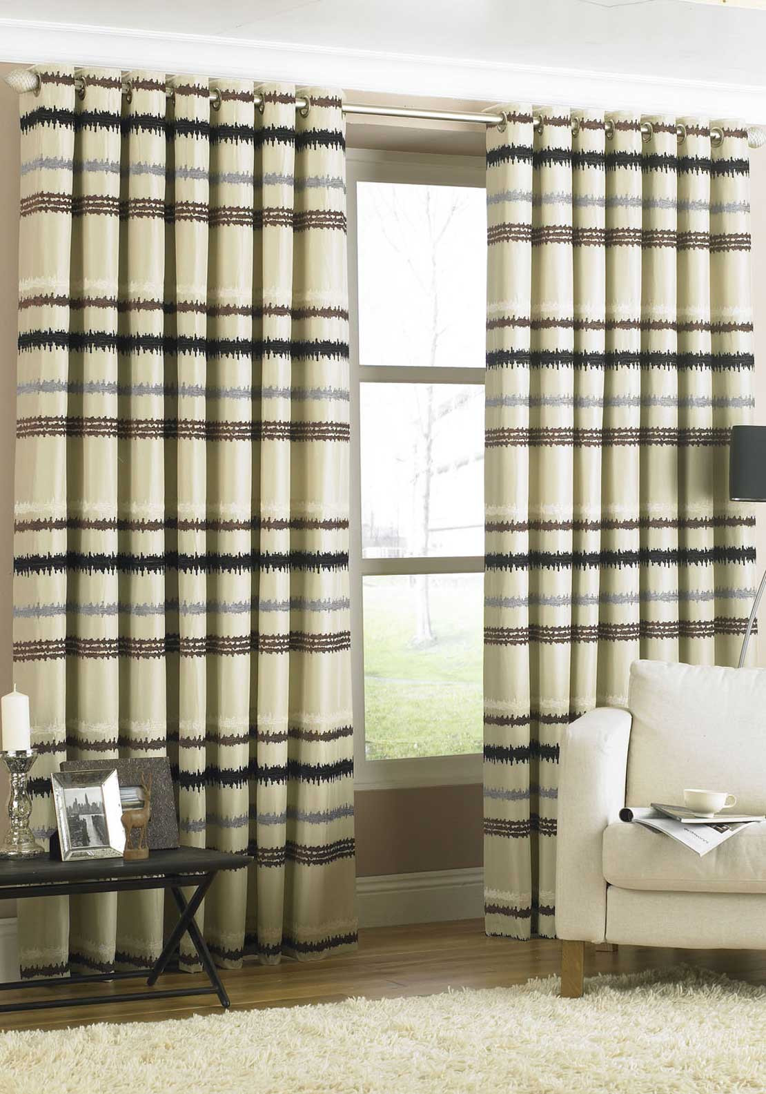 Paoletti Sketch Velvet Print Fully Lined Eyelet Curtains, Natural