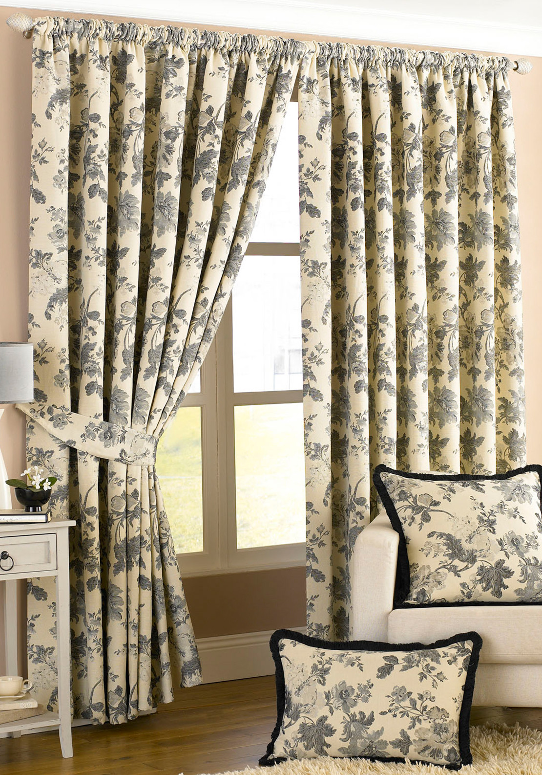 Paoletti Berkshire Floral Print Fully Lined Eyelet Curtains, Ivory