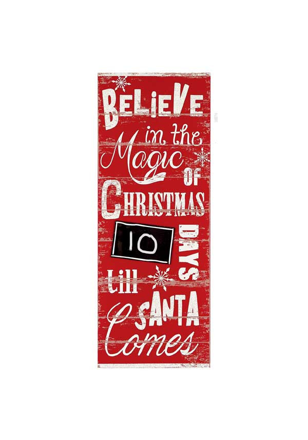 "Premier Vintage ""Countdown to Christmas"" Wooden Sign, 80cm"