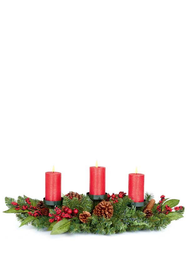 Premier Decorative Christmas Centrepiece with red berries, 80cm