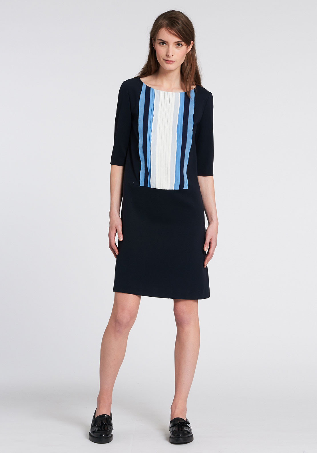 Pennyblack Raro Pleated Panel Shift Dress, Navy