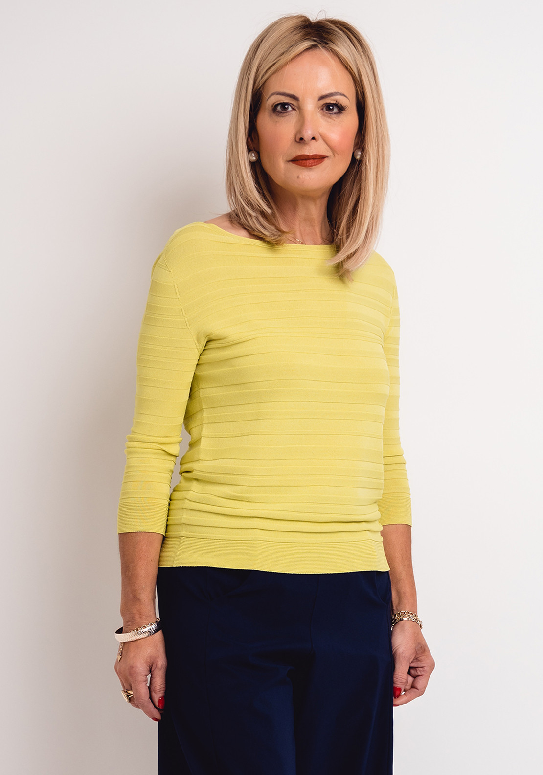 Peruzzi Ribbed Fine Knit Top, Lime Green