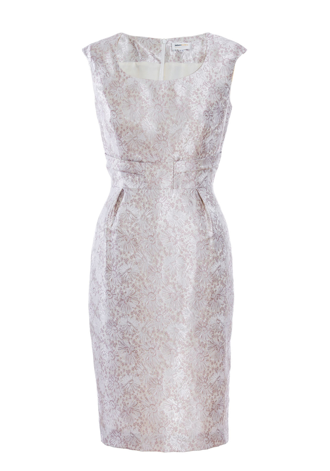 Aideen Bodkin Portea Blush Pink Metallic Floral Detail Dress