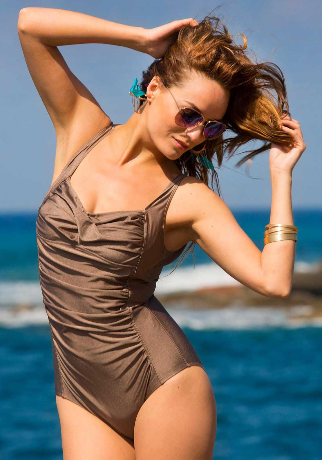 Pour Moi? Azure Control Swimsuit, Taupe