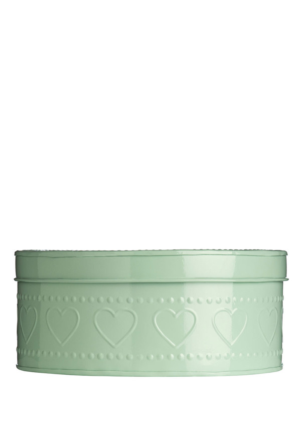 The Sweetheart Collection Dotty Heart Green Storage Tin, 25x11cm