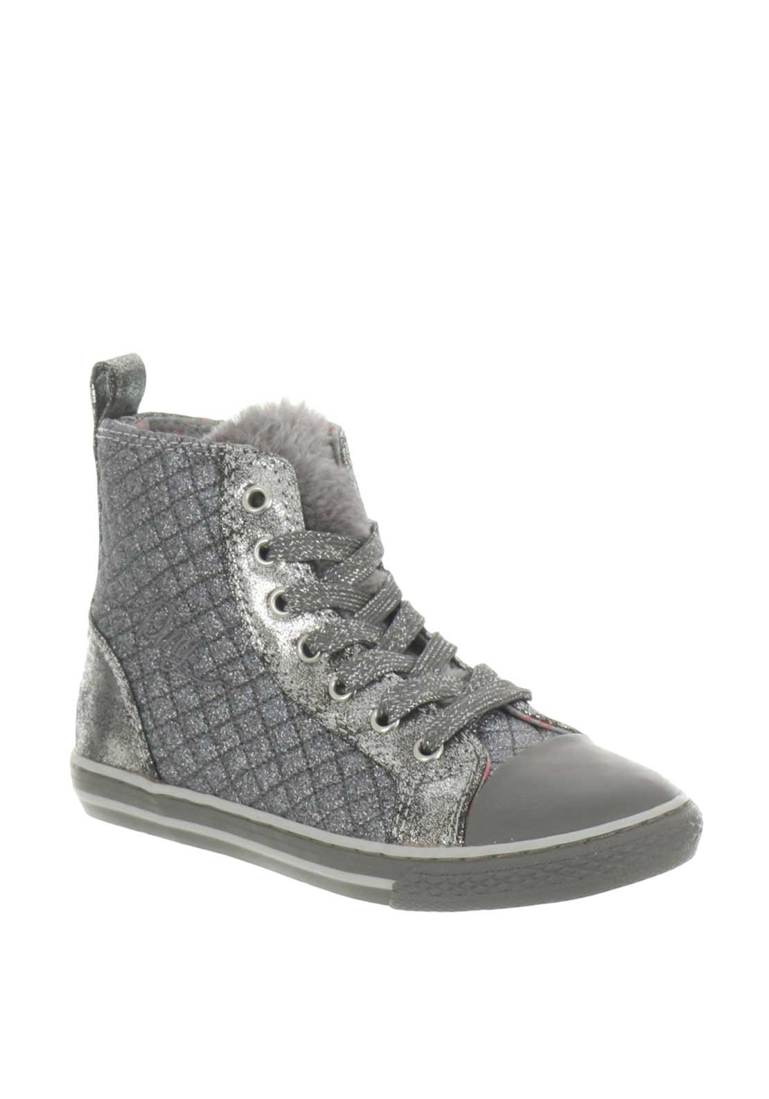 e7cb234dd2fb Primigi Girls Glitter Quilted Hi Top Trainers, Silver. Be the first to  review this product