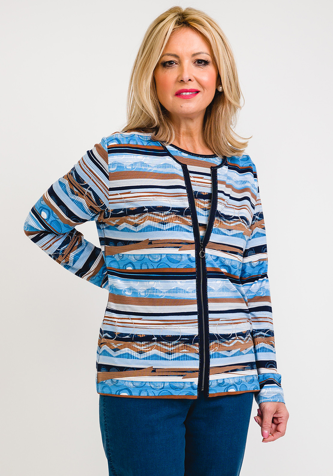 Rabe Abstract Liner Print Jersey Twinset, Blue