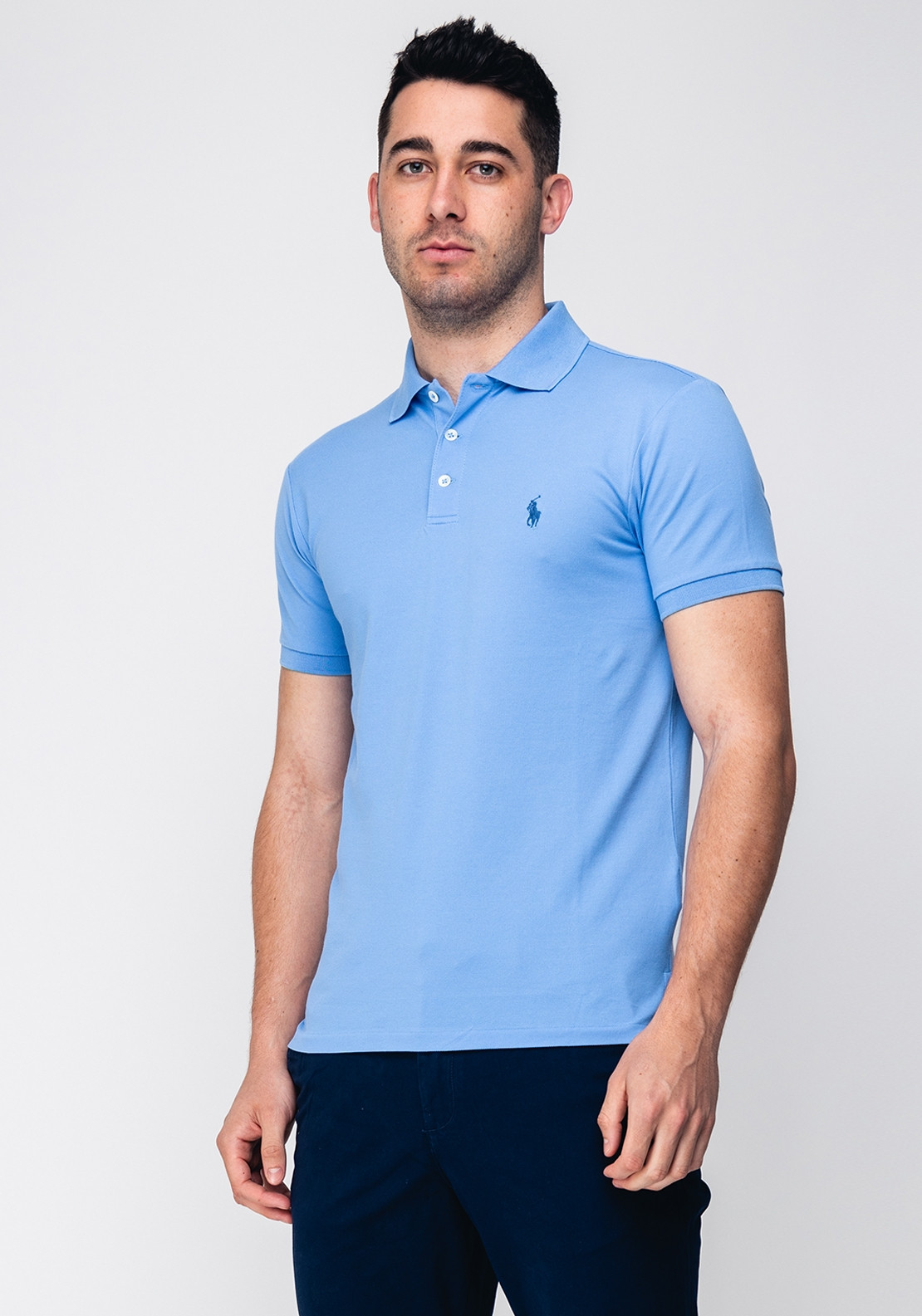 56c8b6dc Ralph Lauren Men's Cotton Slim Polo, Blue