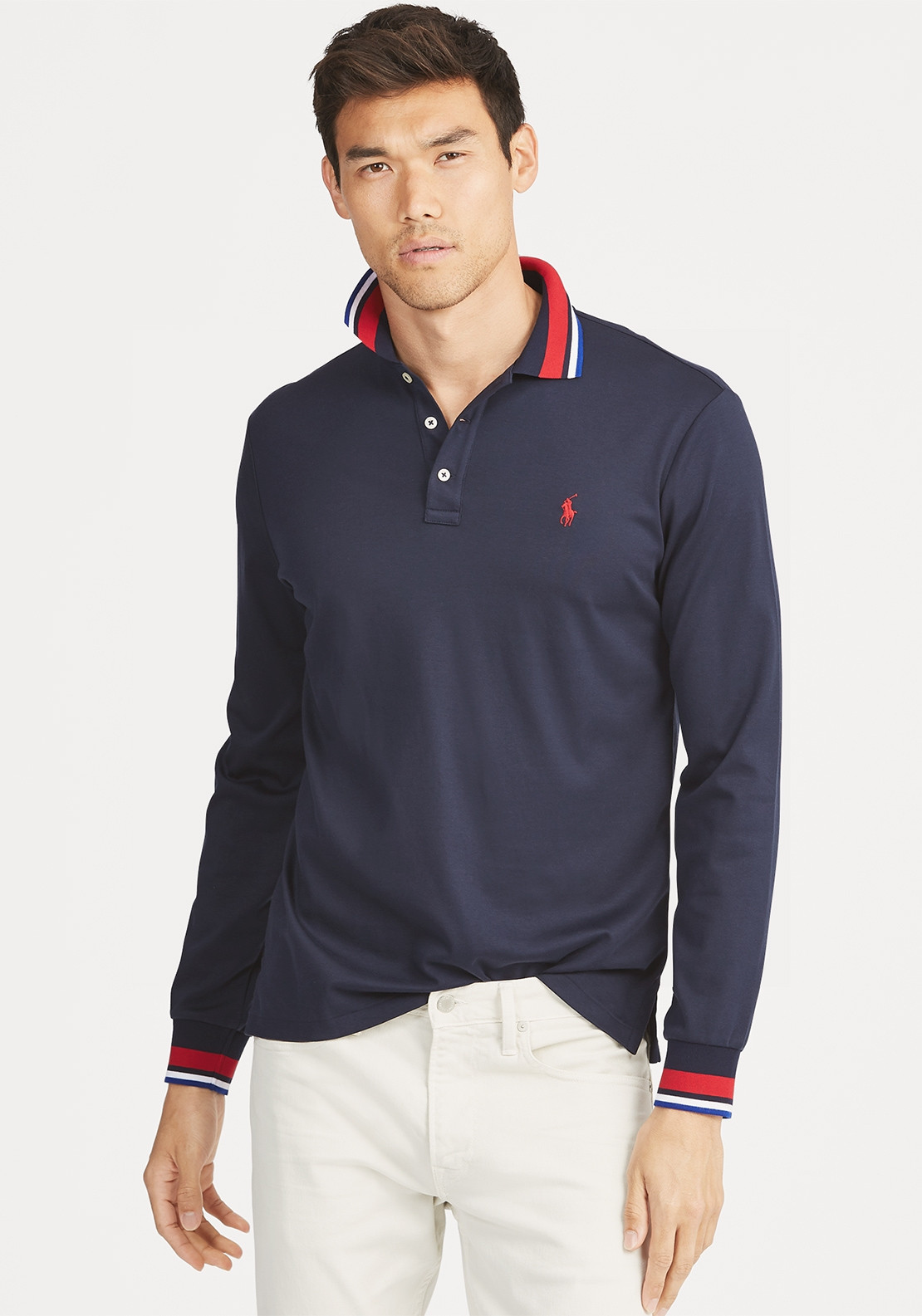 ba6673b1 Ralph Lauren Mens Custom Slim Long Sleeve Polo Shirt, Navy. Be the first to  review this product